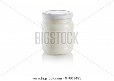 Glass Jar Of Yoghurt