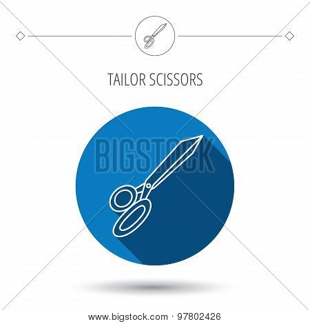 Tailor scissors icon. Hairdressing sign.