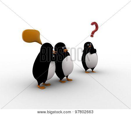 3D Penguin Whisper In Ear Of Another Penguin  Concept