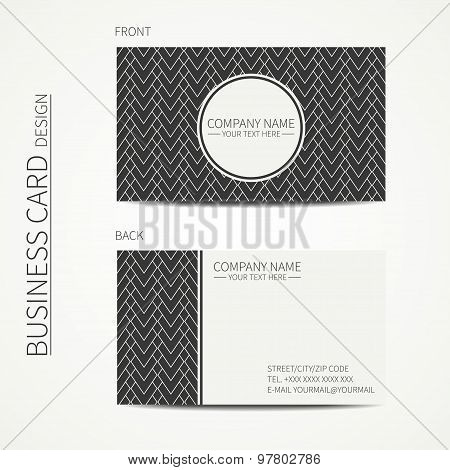 Geometric monochrome business card template with square pattern for your design. Abstract striped se