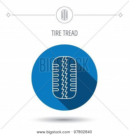 Tire tread icon. Car wheel sign.