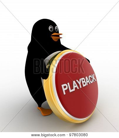 3D Penguin With Playback Coin Concept