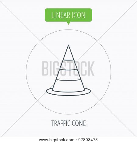 Traffic cone icon. Road warning sign.