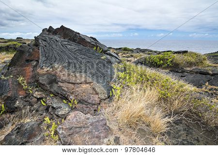 An old Hawaiian lava flow shows its age by the rusted section of rock, most likely from the later or early 1900's.L
