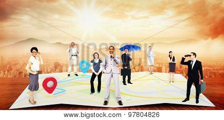 Business team against sun shining over city