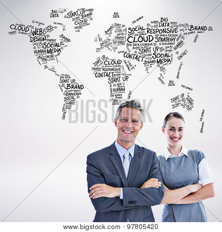 happy business team against grey background