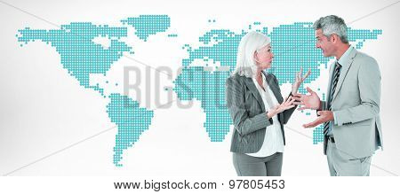 businesswoman angry against her colleague arguing against green world map on white background