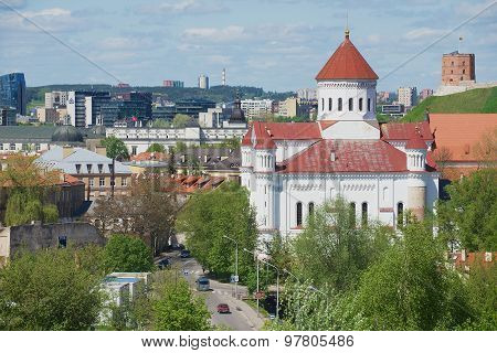View to the Cathedral of the Theotokos with Gediminas tower at the background in Vilnius, Lithuania.