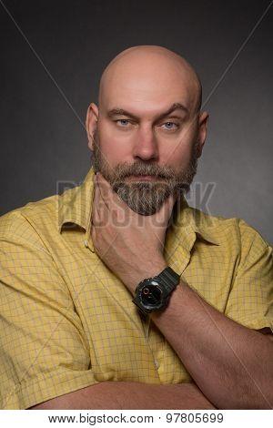 Serious bearded man