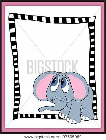 Beautiful Card With Cartoon Elephant