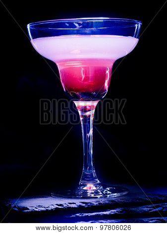 Pomegranate cocktail on black background. Cocktail card 70.
