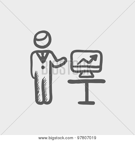 Businessman presentation sketch icon for web and mobile. Hand drawn vector dark grey icon on light grey background.
