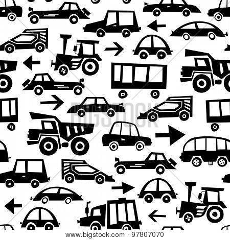 Seamless Car Pattern. Vector Monochrome Background
