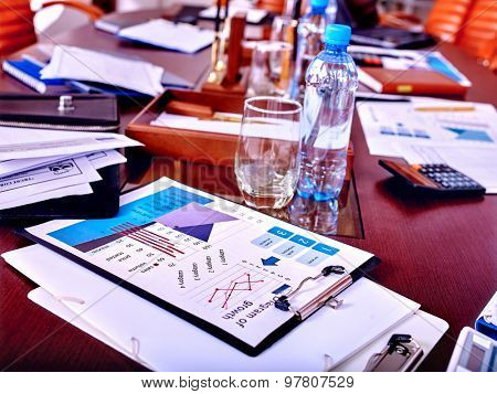 Business still life with stationery on table in office. Close up.