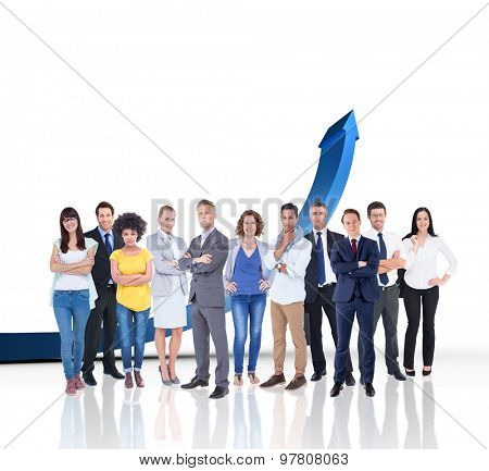 Business team against blue arrow pointing up
