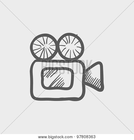 Video camera sketch icon for web and mobile. Hand drawn vector dark grey icon on light grey background.