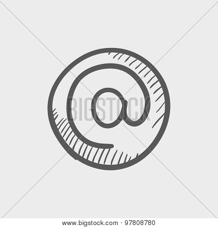E-mail internet sketch icon for web and mobile. Hand drawn vector dark grey icon on light grey background.