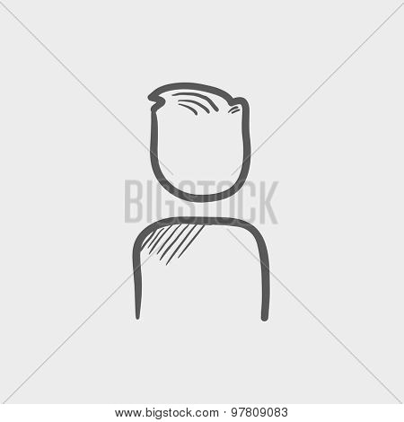 Man sketch icon for web and mobile. Hand drawn vector dark grey icon on light grey background.