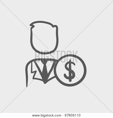 Man with dollar sign sketch icon for web and mobile. Hand drawn vector dark grey icon on light grey background.