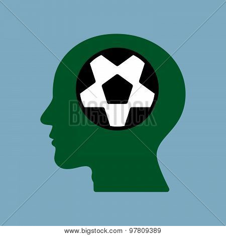 Soccer Ball In Human Brain Head