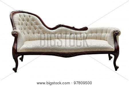 Vintage Style Couch Isolated On White