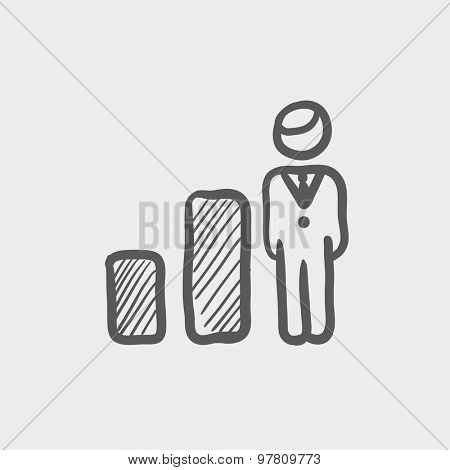 Businessman and graph sketch icon for web and mobile. Hand drawn vector dark grey icon on light grey background.
