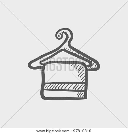 Towel on hanger sketch icon for web and mobile. Hand drawn vector dark grey icon on light grey background.