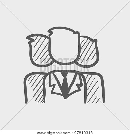 Group of businessmen sketch icon for web and mobile. Hand drawn vector dark grey icon on light grey background.