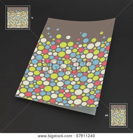 A4 business blank. Abstract background with color circles. 3d vector illustration. Can be used for marketing, website, print, presentation, business concepts.