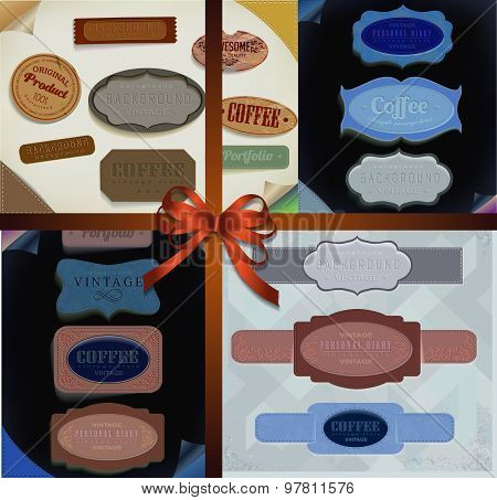 Set of vector retro ribbons, old