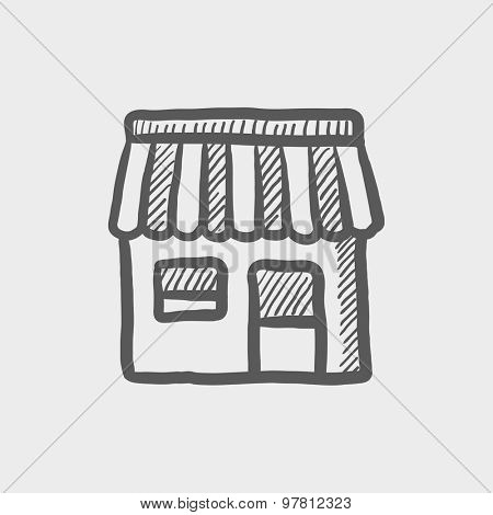 Store stall sketch icon for web and mobile. Hand drawn vector dark grey icon on light grey background.