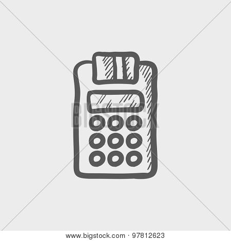 Electronic calculator with paper roll sketch icon for web and mobile. Hand drawn vector dark grey icon on light grey background.