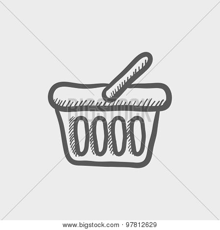 Shopping basket sketch icon for web and mobile. Hand drawn vector dark grey icon on light grey background.