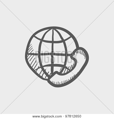 Global internet shopping sketch icon for web and mobile. Hand drawn vector dark grey icon on light grey background.