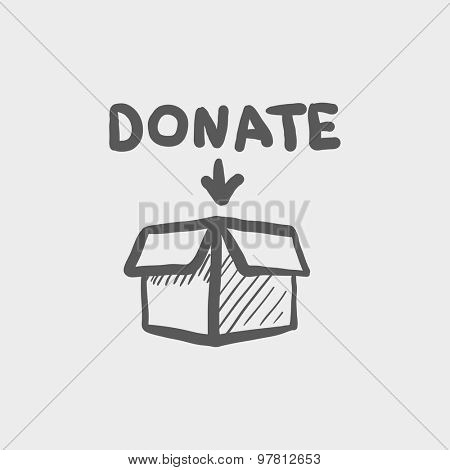 Donation box sketch icon for web and mobile. Hand drawn vector dark grey icon on light grey background.