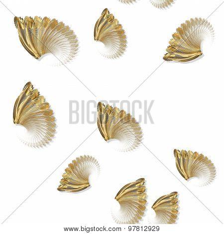 Seamless Golden Fractal Shapes Pattern On White