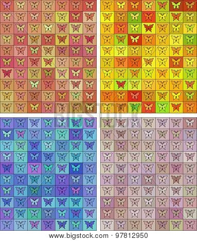 Seamless Colored Pattern With Butterflies