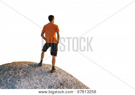 Man on peak of mountain. Element of design. Isolated object.