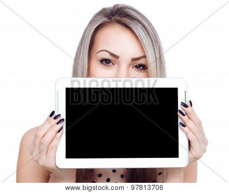 Young Cheerful Woman Is Showing Blank Tablet.