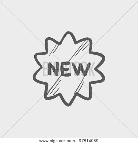 New tag sketch icon for web and mobile. Hand drawn vector dark grey icon on light grey background.