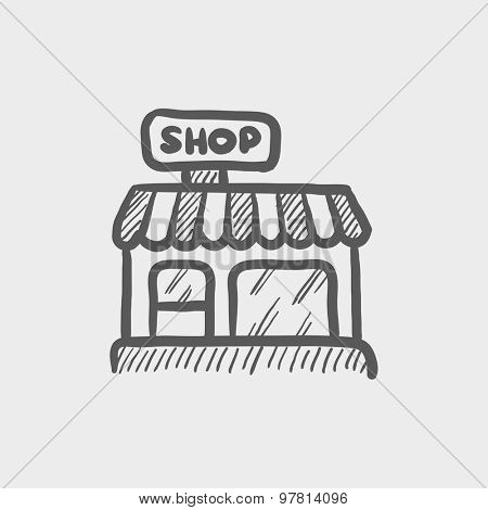 Business shop sketch icon for web and mobile. Hand drawn vector dark grey icon on light grey background.