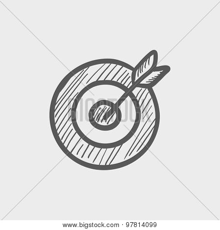 Arrow hit the target sketch icon for web and mobile. Hand drawn vector dark grey icon on light grey background.
