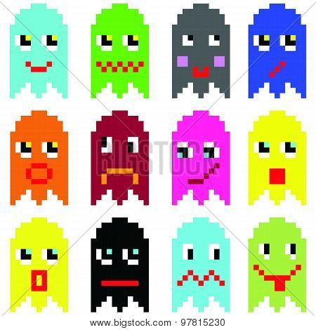 Pixelated  emoticons inspired  by 90's vintage video computer  games showing vary emotions