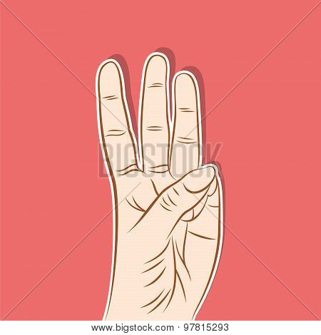 three number show finger design