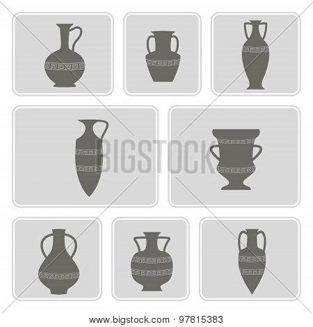 set of monochrome icons with antique amphoras
