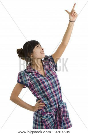 Woman Pointing Up At Something
