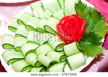 Fresh snack from the cut vegetables, on a festive table