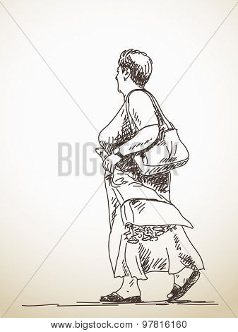 Sketch of walking woman Hand drawn illustration