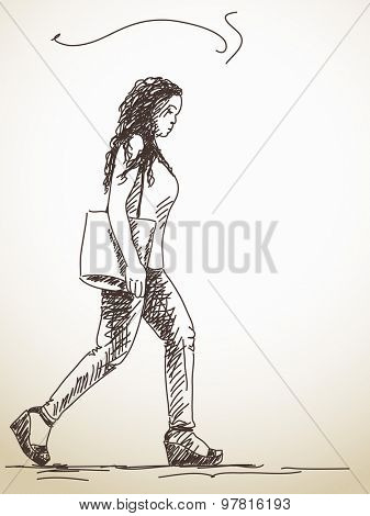 Sketch of walking woman with bag Hand drawn illustration