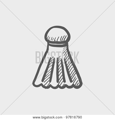 Badminton shuttlecock sketch icon for web and mobile. Hand drawn vector dark gray icon on light gray background.